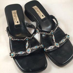 BRIGHTON Sandals Leslie Black Turquoise T-Strap